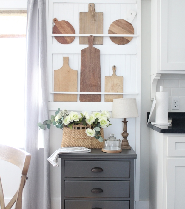 This DIY plate rack wall is used for my cutting and breadboard collection!