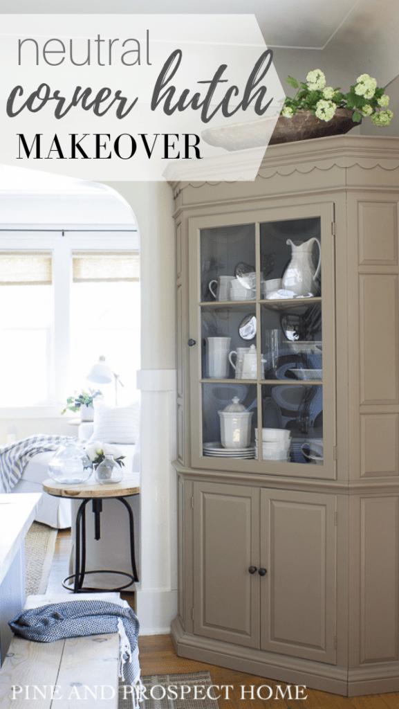 Neutral Cottage Style Corner Hutch, Corner Cabinet Dining Room Hutch
