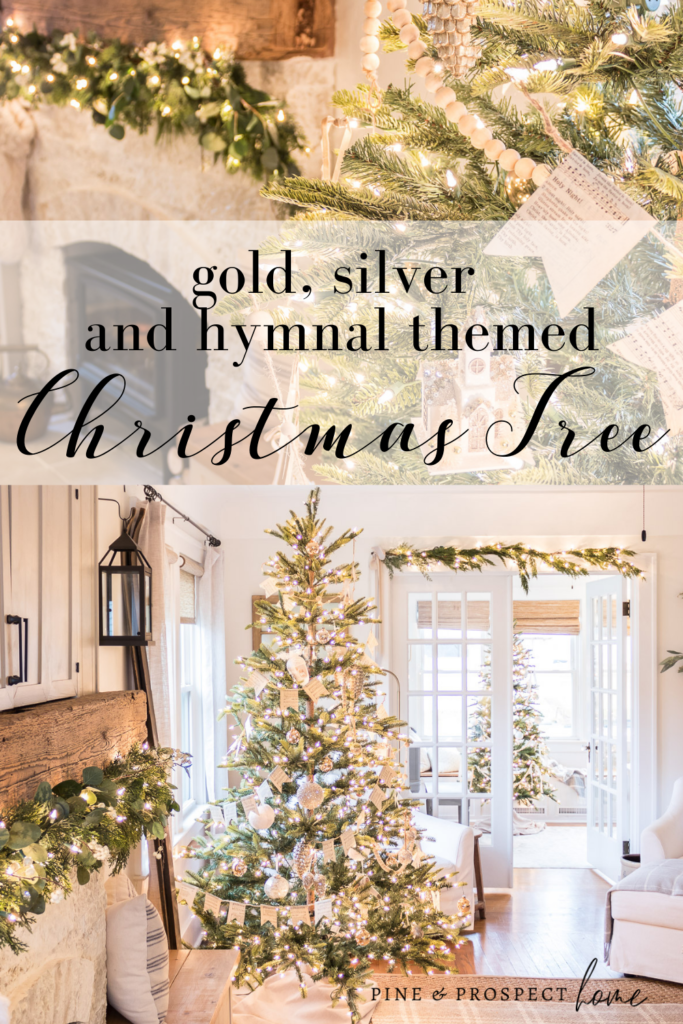 Gold Silver And Hymnal Themed Christmas Tree Pine And Prospect Home